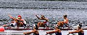 Atlanta, USA. GER W4X. Gold medalist, Kathrin BORON , Kerstin KOEPPEN, Katrin RUTSCHOW, Jana RAU - SORGERS. celebrate after crossing the finishing line at the 1996 Olympic Rowing Regatta Lake Lanier, Georgia [Mandatory Credit Peter Spurrier/ Intersport Images]