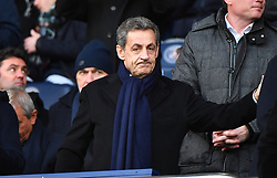 File photo - Former French President Nicolas Sarkozy watches from the stands the Ligue 1 Paris Saint-Germain (PSG) v Montpellier football match at the Parc des Princes stadium in Paris, France, January 27, 2018. Former French President Nicolas Sarkozy was in police custody on Tuesday morning March 20, 2018, an official in the country's judiciary said. He was to be questioned as part of an investigation into suspected irregularities over his election campaign financing, the same source added. The probe related to alleged Libyan funding for Sarkozy's 2007 campaign, Le Monde newspaper reported. Photo by Christin Liewig/ABACAPRESS.COM