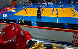 An empty Alfa college sports hall during the cup final between Amysoft Lycurgus vs. Draisma Dynamo on April 18, 2021 in sports hall Alfa College in Groningen
