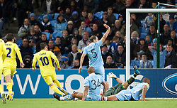 18.10.2011, City of Manchester Stadion, Manchester, ENG, UEFA CL, Gruppe A, Manchester City (ENG) vs FC Villarreal (ESP), im Bild Villarreal CF's Cani scores the first goal against against Manchester City // during UEFA Champions League group A match between Manchester City (ENG) and FC Villarreal (ESP) at City of Manchester Stadium, Manchaster, United Kingdom on 18/10/2011. EXPA Pictures © 2011, PhotoCredit: EXPA/ Propaganda Photo/ Vegard Grott +++++ ATTENTION - OUT OF ENGLAND/GBR+++++