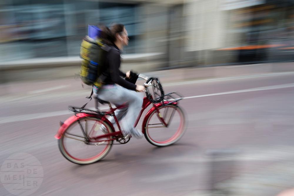 Een fietser in Utrecht.<br /> <br /> A cyclist in Utrecht.