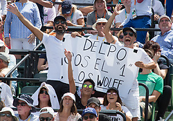March 30, 2018 - Miami, Florida, United States - Argentinan fans filled the center court at the Miami Open to cheer for Juan Martin Del Potro during his match against John Isner, from the USA  in Miami, on March 30, 2018. (Credit Image: © Manuel Mazzanti/NurPhoto via ZUMA Press)