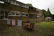 Garden space in Cressingham Gardens on 28th August 2015 in South London, United Kingdom. Cressingham Gardens is a council garden estate, located on the southern edge of Brockwell Park. It comprises of 306 dwellings and built to the design of Lambeth Borough Council architect Edward Hollamby in the early 1970s. In 2012, Lambeth Council proposed regeneration of the estate, a decision highly opposed by many residents. Since the announcement, the highly motivated campaign group Save Cressingham Gardens has been active.