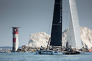 Pictures of the 2014 J.P Morgan Round The Island Yacht Race. Solent. UK Pictures of the Richard Mille GC32 foiling catamaran crossing the finish line this afternoon and taking line honours<br /> Free for editorial use . Please Credit: Lloyd Images
