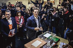 April 28, 2019 - Hospitalet De Llobregat, Catalonia, Spain - ALBERT RIVERA, leader of the political party 'Citizens' (Ciudadanos) and candidate for the presidency of the government of Spain, casts his vote in a polling station in L'Hospitalet during the Spanish general elections 2019. (Credit Image: © Matthias OesterleZUMA Wire)