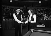 The Benson and Hedges .Irish Masters Snooker..1984..28.03.1984..03.28.1984..28th March 1984..The championship was held at Goffs,Co Kildare. All the top names in snooker took part..Steve Davis,Jimmy White,Eddie Charlton,.Tony Knowles,Dennis Taylor,Tony Meo,.Alex Higgins,Ray Reardon,.Cliff Thorburn,Terry Griffiths,.Bill Werbeniuk and Eugene Hughes..The eventual winner was Steve Davis who beat Terry Griffiths 9 -1 in the final..Image taken as Ray and Alex pose for the cameras.