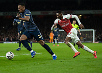 Football - 2018 / 2019 FA Cup - Fourth Round: Arsenal vs. Manchester United <br /> <br /> Anthony Martial (Manchester United) leaves Ainsley Maitland-Niles (Arsenal FC) behind as he heads towards the goal at The Emirates Stadium.<br /> <br /> COLORSPORT/DANIEL BEARHAM