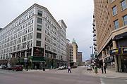 View of Mo's Irish Pub in downtown Milwaukee, Wisconsin, USA, corner of W. Wisconsin Avenue and N. Plankinton Avenue.