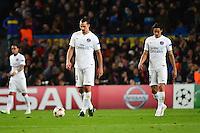 Deception Zlatan IBRAHIMOVIC / Edinson CAVANI - 10.12.2014 - Barcelone / Paris Saint Germain - Champions League<br />Photo : Dave Winter / Icon Sport