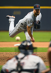 May 8, 2018 - Milwaukee, WI, U.S. - MILWAUKEE, WI - MAY 08: Cleveland Indians Starting pitcher Corey Kluber (28) delivers a pitch during a MLB game between the Milwaukee Brewers and Cleveland Indians on May 8, 2018 at Miller Park in Milwaukee, WI. The Brewers defeated the Indians 3-2.(Photo by Nick Wosika/Icon Sportswire) (Credit Image: © Nick Wosika/Icon SMI via ZUMA Press)