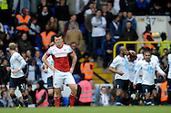 Fulham's John Arne Riise hands on hips as Totthenham Hotspur score the first goal of the game.  Barclays premier league match ,Tottenham Hotspur v Fulham at White Hart Lane in Tottenham, London  on Saturday 19th April 2014.<br /> pic by John Patrick Fletcher, Andrew Orchard sports photography.
