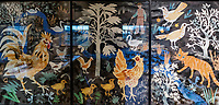 """Compton Verney announces Mark Hearld Acquisitions<br /> Compton Verney Art Gallery and Park in Warwickshire has acquired seven works by artist Mark Hearld<br /> for its renowned British Folk Art Collection, the largest in the UK.<br /> <br /> As part of a £100,000 project to reimagine its Folk Art<br /> galleries in 2018, Compton Verney's curatorial team<br /> worked with Mark Hearld on the re-hanging of its<br /> extensive collection in which he displayed several new<br /> works, not only inspired by objects within the collection<br /> but also by the animals and rural communities<br /> surrounding the Grade 1-listed Georgian mansion and<br /> Lancelot 'Capability' Brown-landscaped parkland.<br /> One of the objects Hearld created was a mixed media<br /> work, The Compton Verney Collage (left), which features a<br /> patchwork, made in the mid-1800s for the 98 th<br /> Regiment. Mark says: """"I felt it would be exciting to make<br /> a large-scale work as a visual foil for the military quilt at<br /> the far end of the gallery, something that had graphic<br /> impact and scale – in effect a paper collage quilt. I<br /> decided that a large-scale work made up of a series of<br /> individual pieces would be an interesting way to<br /> respond. I've attempted to create my own folk art<br /> world, with motifs that echo objects and images in the<br /> Collection and draw upon a cast of characters from my<br /> own menagerie of birds and beasts.""""<br /> <br /> He also produced six cut-out metal silhouettes of animals and birds, all of which directly refer to specific<br /> objects and paintings in the collection, and which will now be permanently housed in Compton Verney.<br /> These are Cockerel, Hare and Partridges, Swan, Pigeon Flight, Owl and Ratter, which depicts a terrier<br /> pursuing a rat. All were made in 2018, from either brass or steel sheet, for Mark by Dave Trigwell in<br /> Cornwall.<br /> Again, these works were created as a direct response to the British """