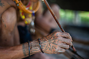 Mentawai indigenous man making poison for hunting with arrows (Indonesia).