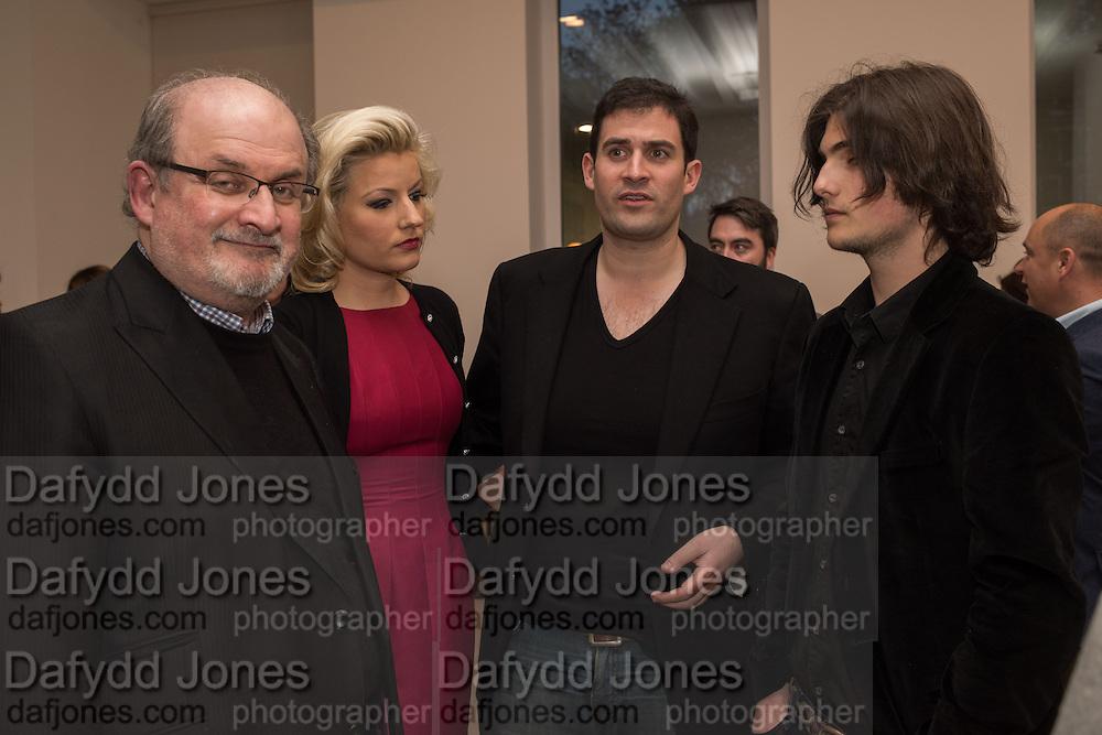 SALMAN RUSHDIE; NATALIE COYLE, ZAFAR RUSHDIE; MILAN RUSHDIE, Francesco Clemente Private view,  Emblems of Transformation. Blain Southern. London. 28 April 2015
