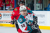 KELOWNA, CANADA - MAY 1: Nick Merkley #10 of Kelowna Rockets skates against the Portland Winterhawks on May 1, 2015 at Prospera Place in Kelowna, British Columbia, Canada.  (Photo by Marissa Baecker/Getty Images)  *** Local Caption *** Nick Merkley;