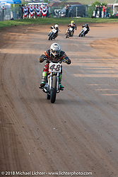 Devon Sixt in the Spirit of Sturgis antique motorcycle flat track race at the historic Sturgis Half Mile during the 78th annual Sturgis Motorcycle Rally. Sturgis, SD. USA. Monday August 6, 2018. Photography ©2018 Michael Lichter.