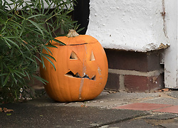 FILE IMAGE © Licensed to London News Pictures. 04/11/2017. London, UK. A Halloween pumpkin sits outside the front door of a house (C) in Wimbledon where a seven year old girl was found seriously injured on Friday and has since died. Robert Peters has today pleaded guilty to the murder of his seven year old daughter.  Photo credit: Peter Macdiarmid/LNP