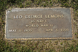 31 August 2017:   Veterans graves in Park Hill Cemetery in eastern McLean County.<br /> <br /> Leo George Lemons  US Navy  World War II  May 11 1909  Apr 6 1995