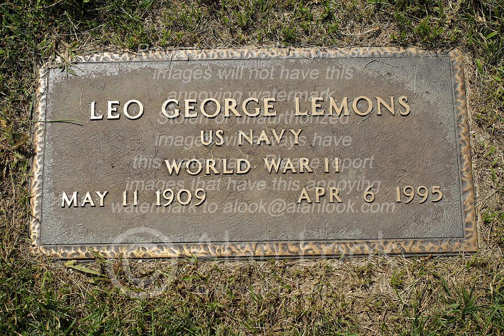 31 August 2017:   Veterans graves in Park Hill Cemetery in eastern McLean County.<br /> <br /> Leo George Lemons  US Navy  World War II  May 11 1909  Apr 6 1995