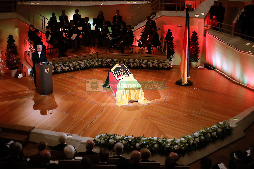 September 7, 2016 - Berlin, Germany - German President Joachim Gauck, left, delivers his speech near the coffin of former German President Walter Scheel during a state funeral service in Berlin 07 September 2016. Walter Scheel, who helped shape West Germany's policy of reconciliation with the communist bloc as foreign minister and later served as his country's president, died Aug. 24, 2016. He was 97. Photo:Markus Schreiber/dpa (Credit Image: © Markus Schreiber/DPA via ZUMA Press)