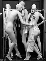 It does not seem to be the best of days for these mannequins at Bergdorf Goodman on Fifth Avenue, New York City.
