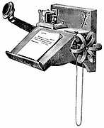 Edison carbon telephone: Wall-mounted model with 'pony-crown' receiver (right). Wood engraving, New York, 1879