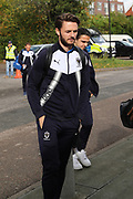 AFC Wimbledon defender Callum Kennedy (23) and AFC Wimbledon attacker Egli Kaja (21) arriving during the EFL Sky Bet League 1 match between AFC Wimbledon and Plymouth Argyle at the Cherry Red Records Stadium, Kingston, England on 21 October 2017. Photo by Matthew Redman.