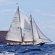 Mistral sailing in The Cannon Race at the Antigua Classic Yacht Regatta.