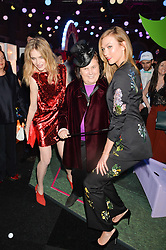 Left to right, NATALIA VODIANOVA, SUZY MENKES and KARLIE KLOSS at The Naked Heart Foundation's Fabulous Fund Fair hosted by Natalia Vodianova and Karlie Kloss at Old Billingsgate Market, 1 Old Billingsgate Walk, London on 20th February 2016.