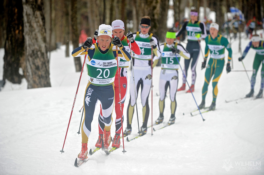 11 MAR 2011: Bernhard Roenning (20) of Michigan State University during the men's 20km Classical Cross Country race during the 2011 NCAA Men and Women's Division I Skiing Championship held Stowe Mountain Resort and Trapp Family Lodge in Stowe, VT. Roenning finished 18th. ©© Brett Wilhelm