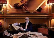 Milano: il giornalista Giancarlo Aneri fotografato al ristorante  il Bolognese. journalist and prosecco wine producer Giancarlo Aneri