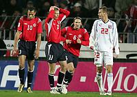 Fotball , 16. november 2005 , play off<br />  Norge V Tsjekkia<br /> Norway - Czech Republik<br />  Steffen Iversen , John Carew , Thorstein Norge og David Rozehnal , Tsjekkia