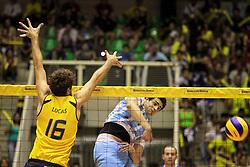 Lance da partida entre as seleções do Brasil x Argentina, válida pelo campeonato Sul-Americano de vôlei, disputado no estádio Aecim Tocantins, em Cuiabá-MT. FOTO: Jefferson Bernardes/Preview.com