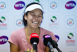 February 21, 2019 - Dubai, ARAB EMIRATES - Su-Wei Hsieh of Chinese Taipeh talks to the media after making the semifinal at the 2019 Dubai Duty Free Tennis Championships WTA Premier 5 tennis tournament (Credit Image: © AFP7 via ZUMA Wire)