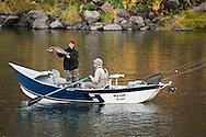 Steelhead driftboat fishing - autumn in the Grande Ronde River Canyon, Washington, USA