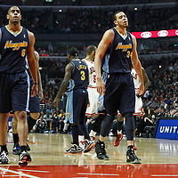 26 March 2012: Denver Nuggets forward Kenneth Faried (35), Denver Nuggets shooting guard Arron Afflalo (6) and Denver Nuggets center JaValee McGee (34) are seen during the Denver Nuggets 108-91 victory over the Chicago Bulls at the United Center, Chicago, Illinois, USA. NOTE TO USER: User expressly acknowledges and agrees that, by downloading and or using this photograph, User is consenting to the terms and conditions of the Getty Images License Agreement. Mandatory Credit: 2012 NBAE (Photo by Chris Elise/NBAE via Getty Images)