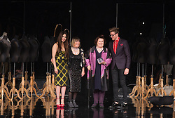 © Licensed to London News Pictures. 05/06/2013. London, England. SUZY MENKES OBE receives the GFW Lifetime Achievement Award. Pictured with Zara Martin, Hilary Alexander and Henry Holland. Award winners of Graduate Fashion Week 2013. Photo credit: Bettina Strenske/LNP