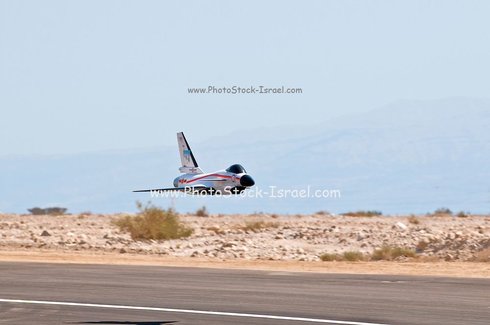 Israel, Massada Air Strip, the international radio controlled model aircraft competition June 27 2009. A jet model plane