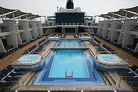 Celebrity Silhouette. Celebrity cruises' new ship launched in Hamburg 21st July 2011..Interior feature photos..Pool Deck.