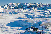 Bighorn Basin of Wyoming snow covered in winter