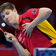 Dimitrij Ovtcharov of Germany served during his semifinal match against China's Jike Zhang at ExCel during the 2012 Summer Olympic Games in London, England, Thursday, August 2, 2012. Ovtcharov lost this match but won the bronze medal match later in the day. (David Eulitt/Kansas City Star/MCT)