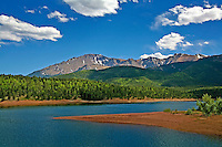 """""""Colorado High"""" - View of Pikes Peak with Crystal Reservoir in foreground-Image has slight watercolor effect"""