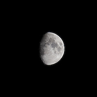 Waxing Gibbous Moon (75%). Autumn Night in New Jersey. Image taken with a Nikon D3s and 600 mm f/4 VR lens.  (ISO 200, 600 mm, f/8, 1/200 sec).