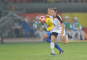 Beijing, CHINA.  Olympic Football, Women's Gold Medal Game, USA vs BRA,  BRA's MARTA and USA No.15 Megan RAPINOE, chasing the  during the final at the the Beijing Workers Stadium. Thursday,  21.08.2008 [Mandatory Credit: Peter SPURRIER, Intersport Images]
