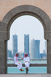 Two local men at the  Museum of Islamic Art in Doha Qatar