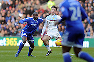 Cardiff City's Sol Bamba (l) challenges Aston Villa's Jack Grealish. EFL Skybet championship match, Cardiff city v Aston Villa at the Cardiff City Stadium in Cardiff, South Wales on Monday 2nd January 2017.<br /> pic by Carl Robertson, Andrew Orchard sports photography.