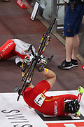 Team Poland and Team China crash whilst competing in the Women's madison during day 4 of the The UCI Cycling Track World Championships, at The Veledrom, Saturday, Feb. 29, 2020, in Berlin. (Mitchell Gunn-ESPA-Images/Image of Sport)