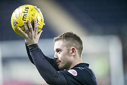 Falkirk's John Baird with the match ball after scoring a hat-trick.<br /> Falkirk 5 v 0 Alloa Athletic, Scottish Championship game played at The Falkirk Stadium.