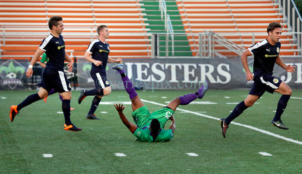 22 June 2016. New Orleans, Louisiana.<br /> NPSL Soccer, Pan American Stadium.<br /> New Orleans Jesters v Nashville FC. Jesters emerge victorious with a 2-0 win.<br /> Photo; Charlie Varley/varleypix.com