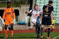 Fotball , 20. mai 2012, Tippeligaen Eliteserien<br /> Stabæk - Haugesund<br /> Alexander Søderlund - Haugesund jubler for 2-0 målet sitt<br /> Mande Sayouba og Sean Cunningham - Stabæk<br /> Foto: Sjur Stølen , Digitalsport
